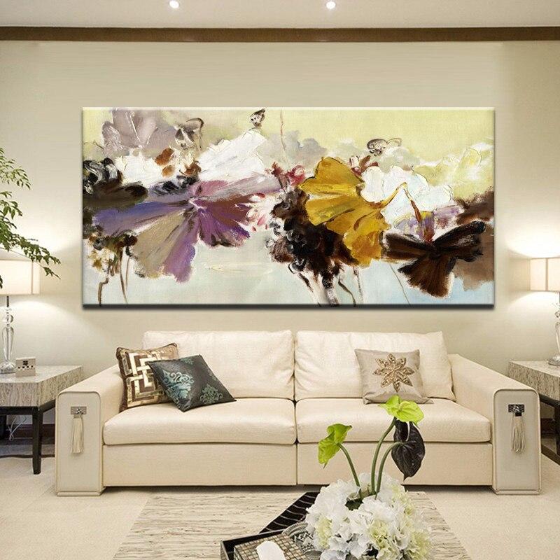 70x140 cm-Moderne Abstrakte Leinwand Malerei Wand Kunst Poster Handgemalte Blumen Drucke auf Leinwand Für Wohnzimmer zimmer Hause Dekoration