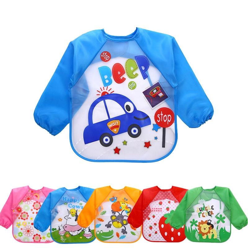 Cute Cartoon Baby Bibs Long Sleeve Art Apron Animal Smock Children Bib Clothes Soft Feeding Eat Toddler Waterproof Baberos I0127