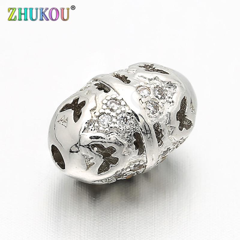 8*11mm latón cúbico circonio hueco abalorios espaciadores ovalados DIY Fabricación de collares y pulseras, agujero 1,7mm, modelo VZ67