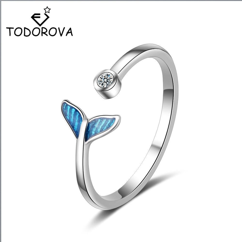 Todorova синий кит дельфин хвост русалки кольца Подарки для женщин девушки кубического циркония кольца свадебное Ювелирное Украшение регулируемое кольцо