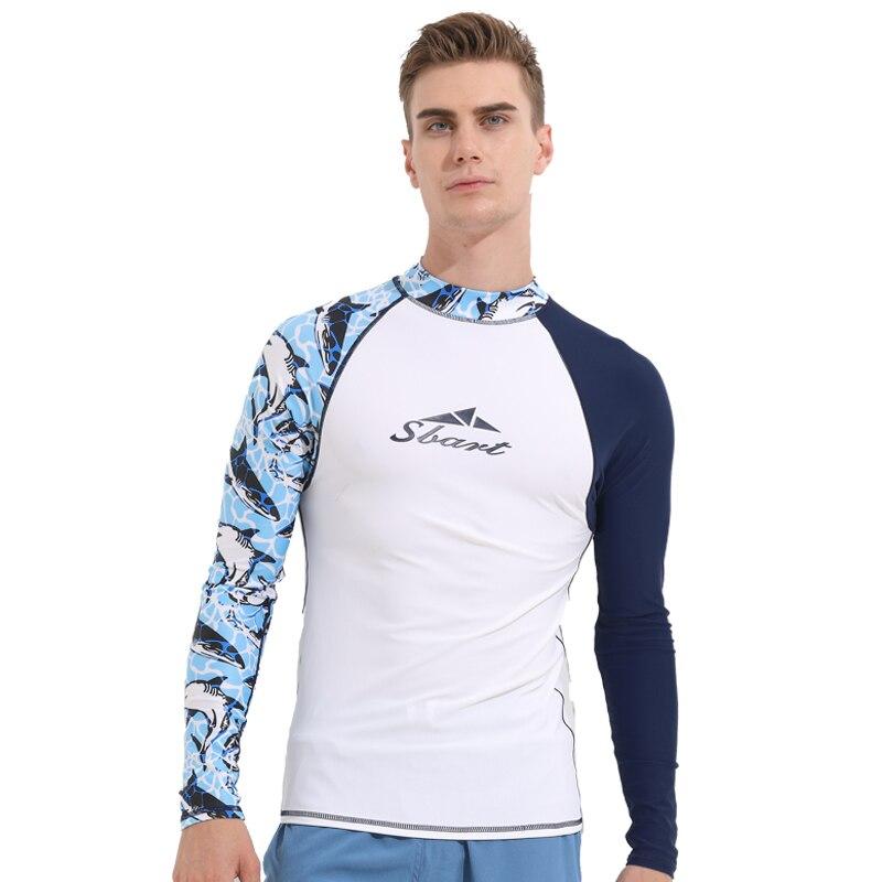 Lycra Long Sleeve Swimwear Men Rashguard Surfing Diving Suit Shirt Clothing UV Protection Rash Guard Bodysuit Plus size Swimsuit