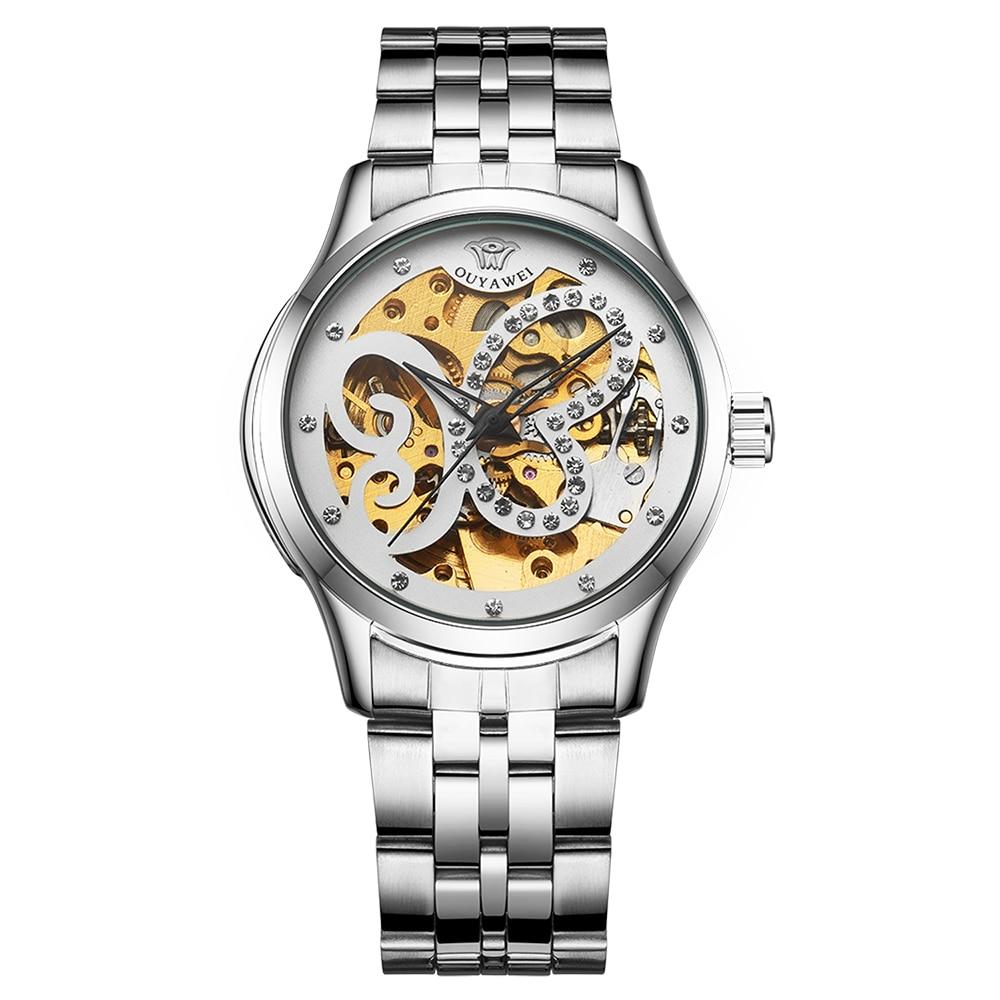 Reloj ouywei para Mujer, Reloj de pulsera mecánico automático para Mujer, esfera de cristal con esqueleto, Reloj para Mujer, Reloj de pulsera de acero inoxidable para Mujer