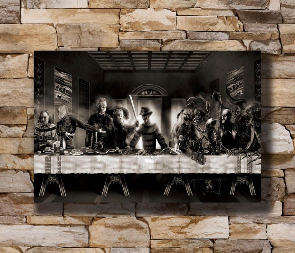 N0779 he Last Supper Freddy vs Jason Horror Movie Funny 8x12 20x30 24x36 Wall Poster Art L-W Canvas Print Decoration