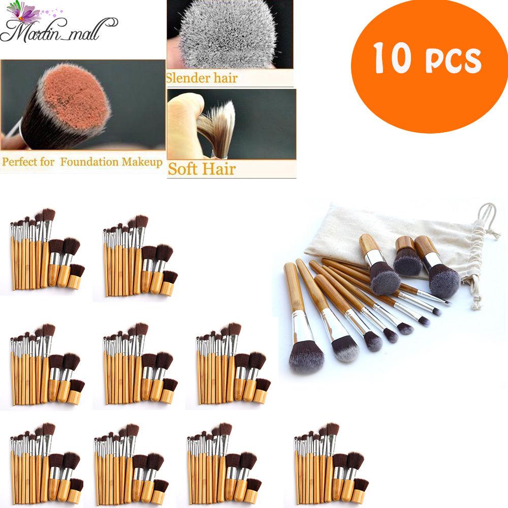 10 Uds./lote 11 Uds. Pro cepillos cosmèticos de maquillaje herramientas mango de bambú sombra de ojos base pincel Set rubor suave Kabuki Kit de belleza