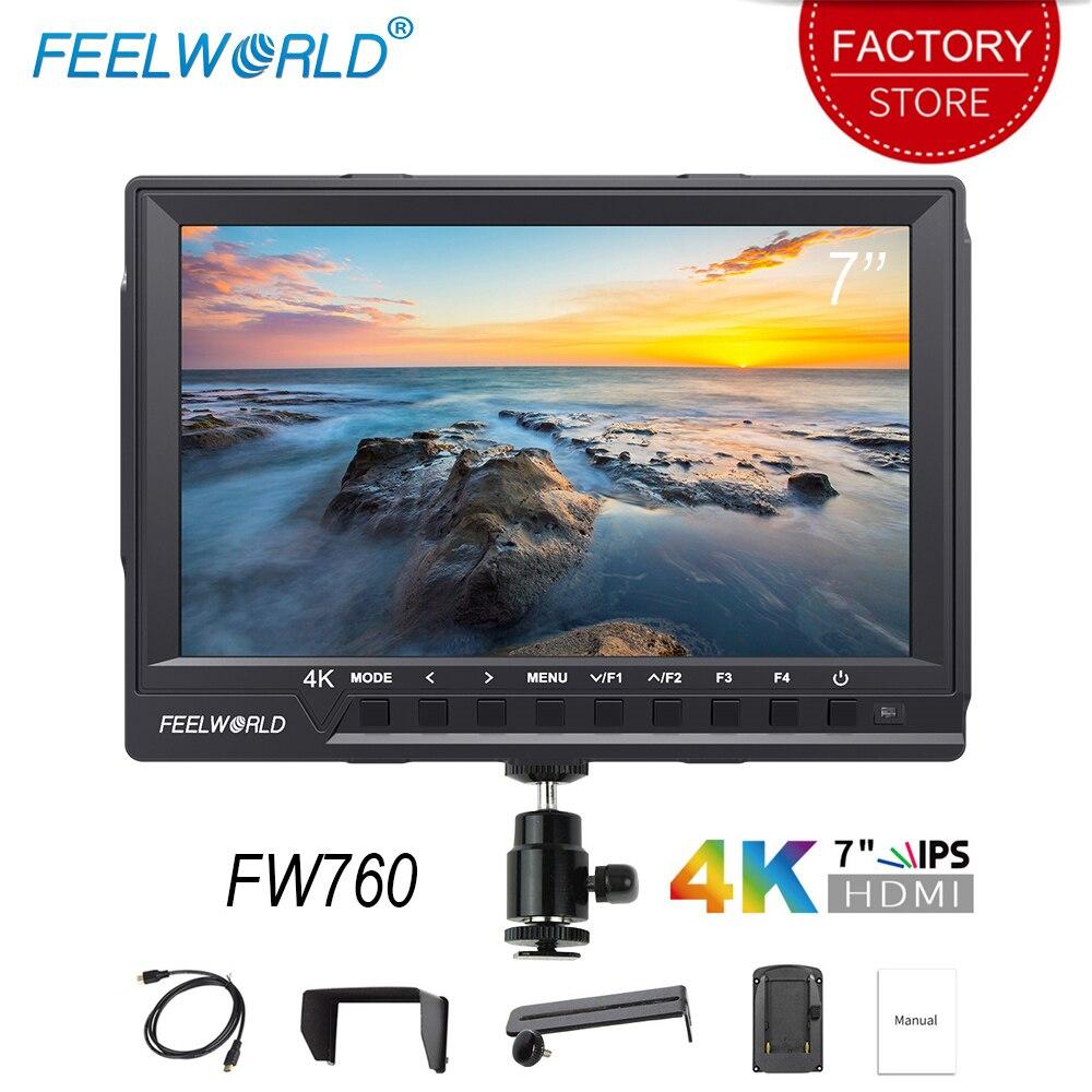 Feel world FW760 7 بوصة كاميرا جهاز المراقبة الميدانية 4K HDMI DSLR فيديو مساعدة كامل HD 1920x1200 IPS الشاشة 1200:1 عرض عالية التباين