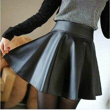 2015 Women Winter Leather Skirts  Fashion Plus Size High Waist Pleated Skirts Saia Hot Sale