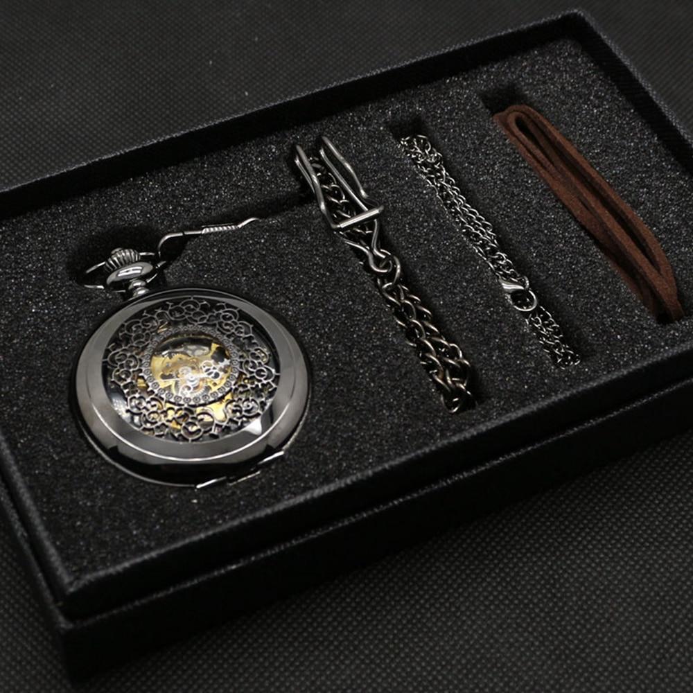 Creux élégant coffret cadeau pour mécanique de poche montre ensemble hommes femmes noir Steampunk squelette montres horloge cadeau boîte mauvaise chaîne