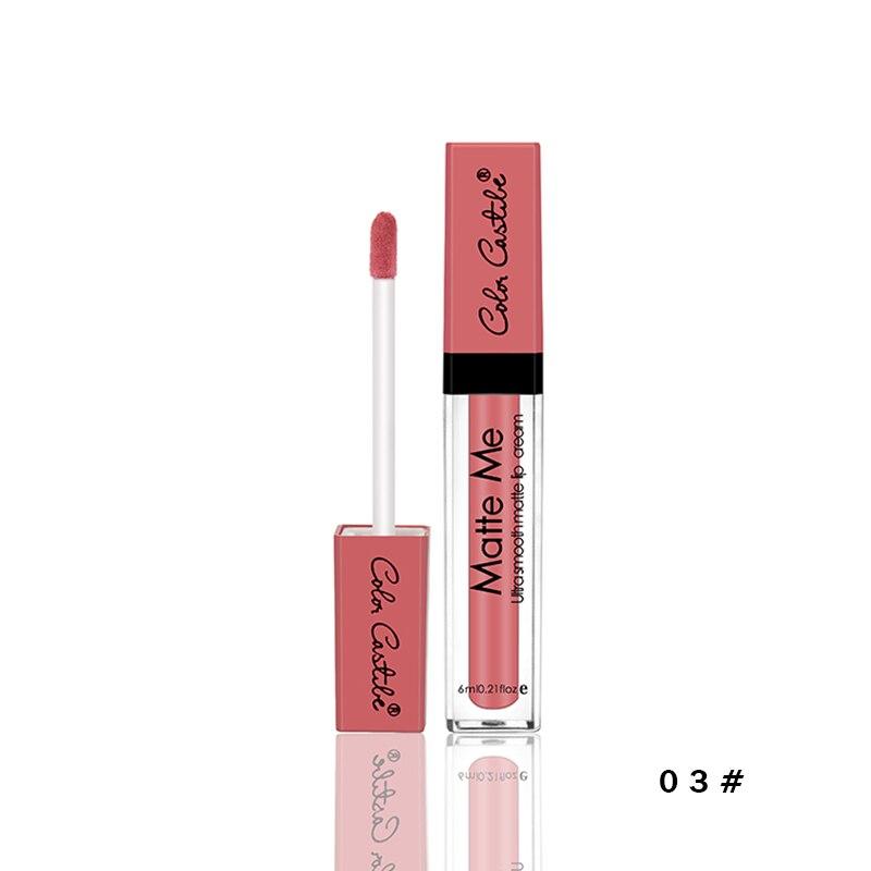 COLOR Castillo 12 colores desnudo líquido lápiz labial terciopelo mate brillo de labios de larga duración cosméticos de Color Sexy para mujer chica