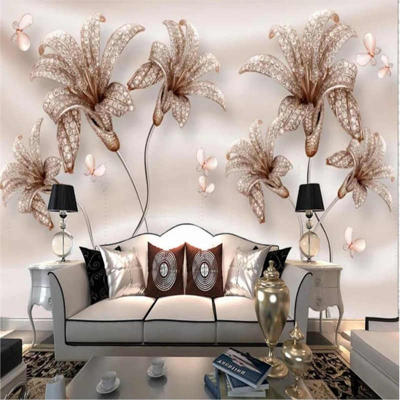 Custom wallpaper 3D embossed jewelry flower lily flower TV background wall high-grade waterproof material недорого