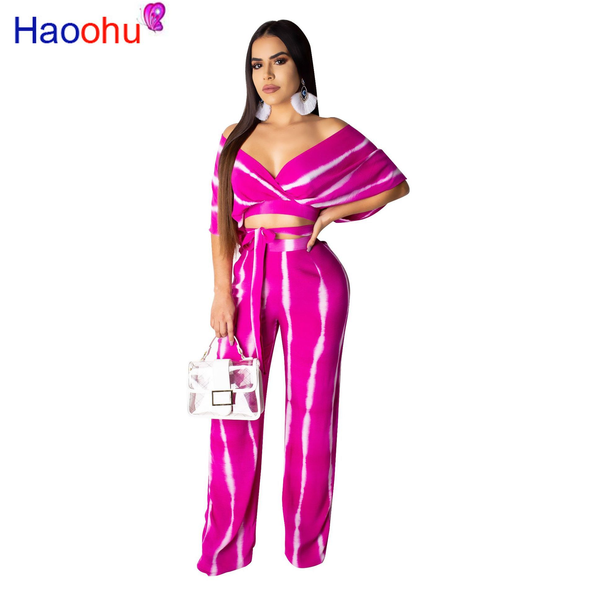 pink floral print scoop neck self tie design two piece outfit Tie Dye Print Sexy Two Piece Tracksuit Female Clothes Deep V Neck Short Sleeve Crop Top  And Wide Leg Long Pant Plus Size Outfit