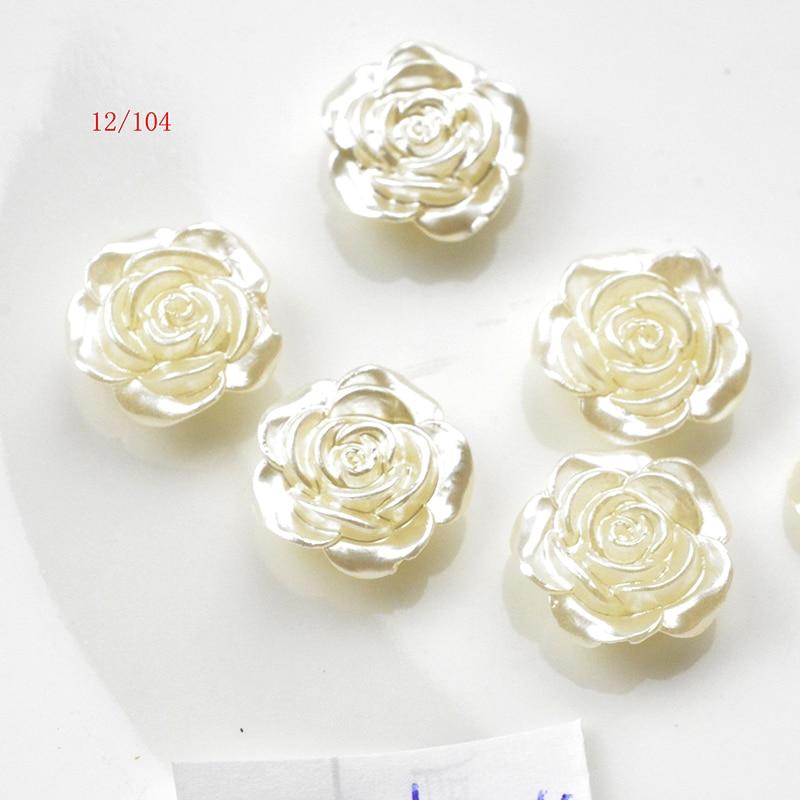 Fltmrh 20pcs12mm branco liso volta simulado meia pérola grânulo rosa flor pérola cabochão grânulos para artesanato diy jóias fazendo