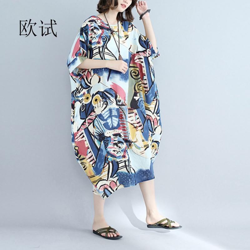 Summer Boho Print Beach Dress Plus Size Dresses For Women 4xl 5xl 6xl Long Casual Loose Cotton Womens Dress New Arrival 2020