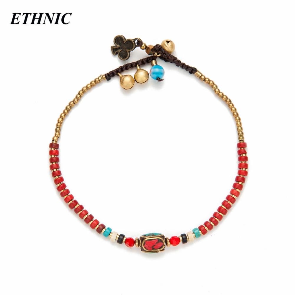 Женский браслет на щиколотке, с красным богемным бусинами и цепочкой в летнем стиле