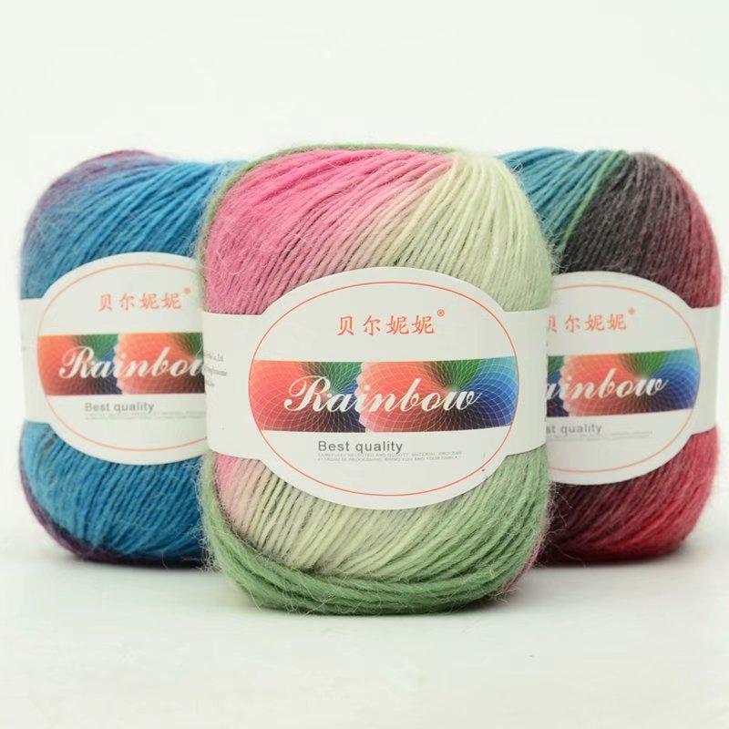 50g/bolas de lana hilado Duan teñido Arco Iris Hilo Color gradiente chal de ganchillo sombrero bufanda tejer joyas de lana VP002