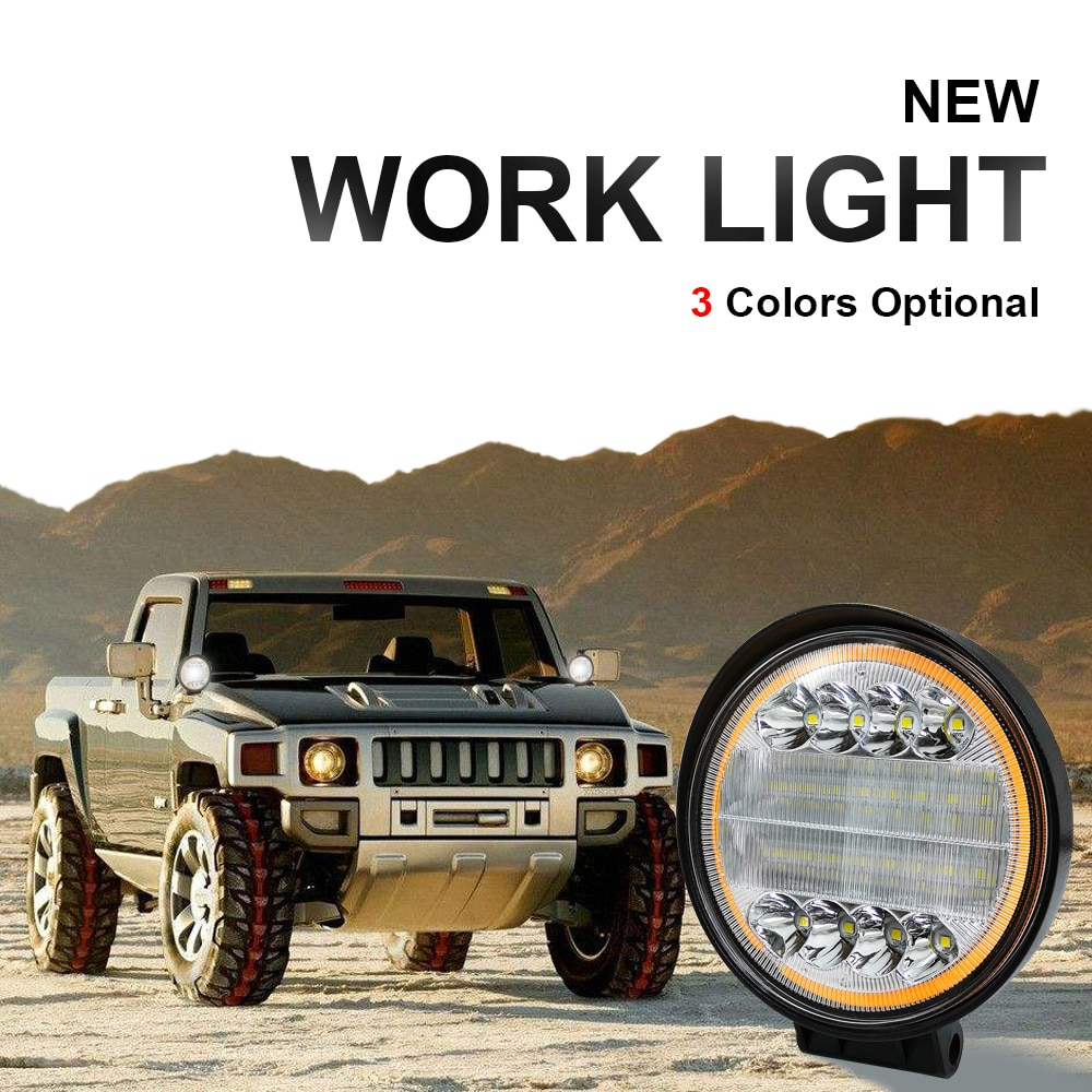 Car LED work lamp headlamp 72w 12v 14400lm Off-road vehicle lights Auto auxiliary driving spot lamp car headlight spotlights