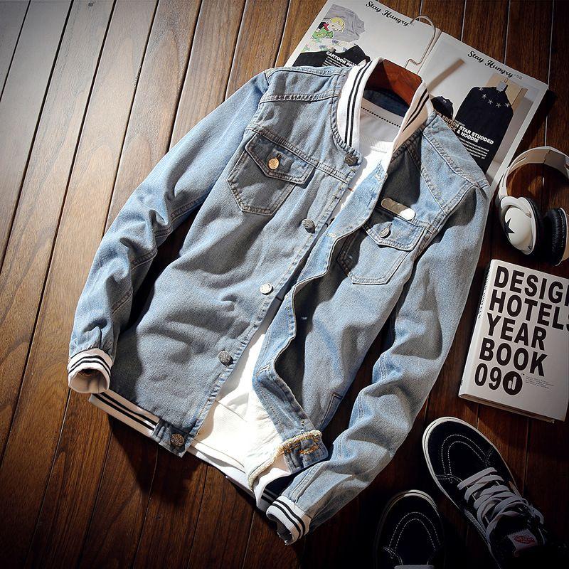 2019 Spring Denim Baseball Jacket Men light blue Jeans outerwear Coats Male Motorcycle Windbreak Bomber Jackets For Men 061206