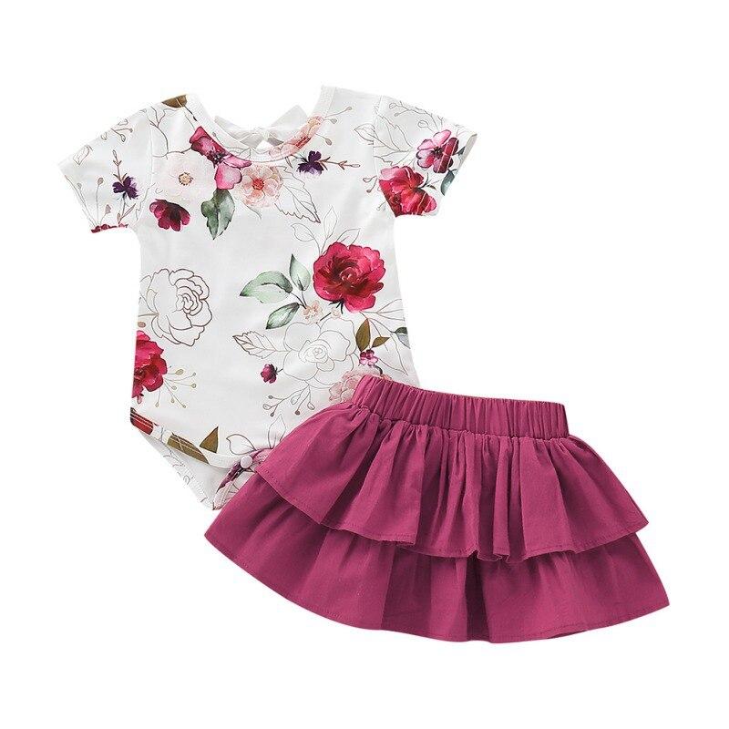 Roupas de bebê Definir Verão de Manga Curta T-Shirt Floral Top Romper + Saia Elegante Da Menina Da Criança Vestuário 2019