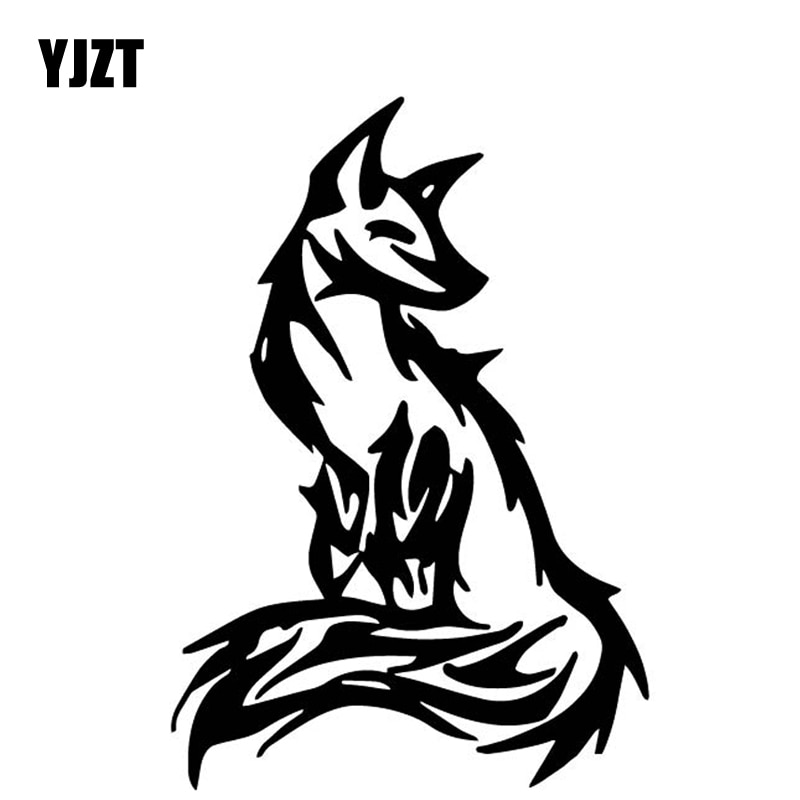 Pegatinas decorativas de zorro YJZT de 11,5 CM x 16,6 CM para coche, pegatinas de vinilo para el cuerpo de los accesorios del coche negro/plateado C4-1694