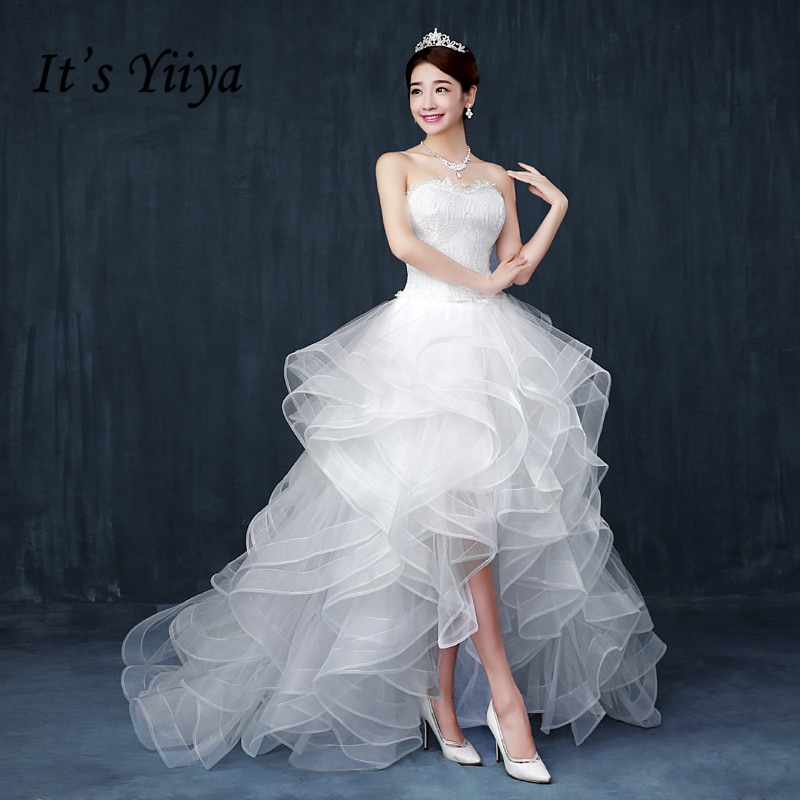 Its Yiiya 2017 New Real Photo Luxury Lace Strapless Ruffles Train Bride Frocks White Wedding Dresses Custom Made D83