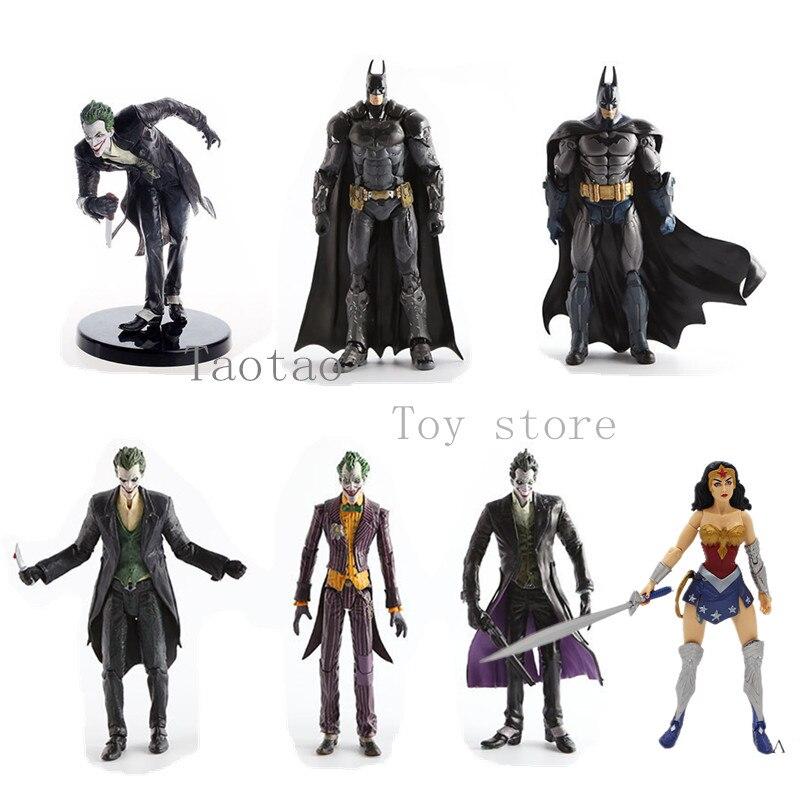 Оригинальный DC Бэтмен Джокер Бэтмобиль чудо женщина Аркхэм Бэтмен серии ПВХ фигурку Коллекционная модель игрушки