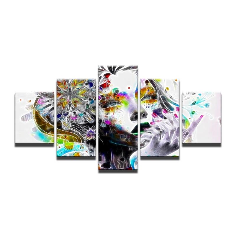 Pared arte lienzo pintura 5 piezas HD impresión abstracta colorida mujer cara agua carteles e impresiones arte decoración del hogar agua pintura