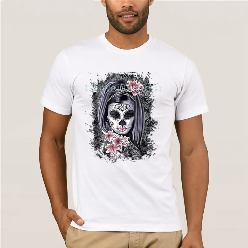 Футболки, короткая модная футболка для мужчин, крутая футболка на Хэллоуин с рисунком лица, La Catrina, с черепом