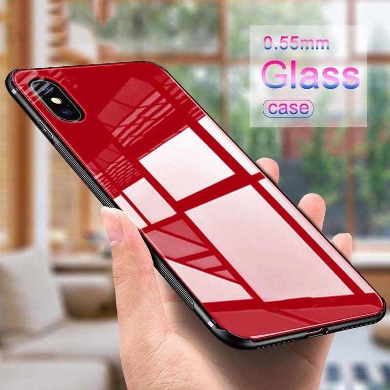Casos de vidro temperado luxuxy para iphone xs max xr x 7 8 6 s plus caso capa protetora dura volta macia capa de borda de silicone para iphone x