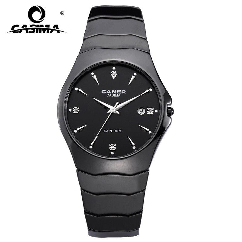 Fashion Casual Lover's Watch Ceramic Black Quartz Movement Watch With Rhinestone Calendar Display Waterproof Couple Watches 6705