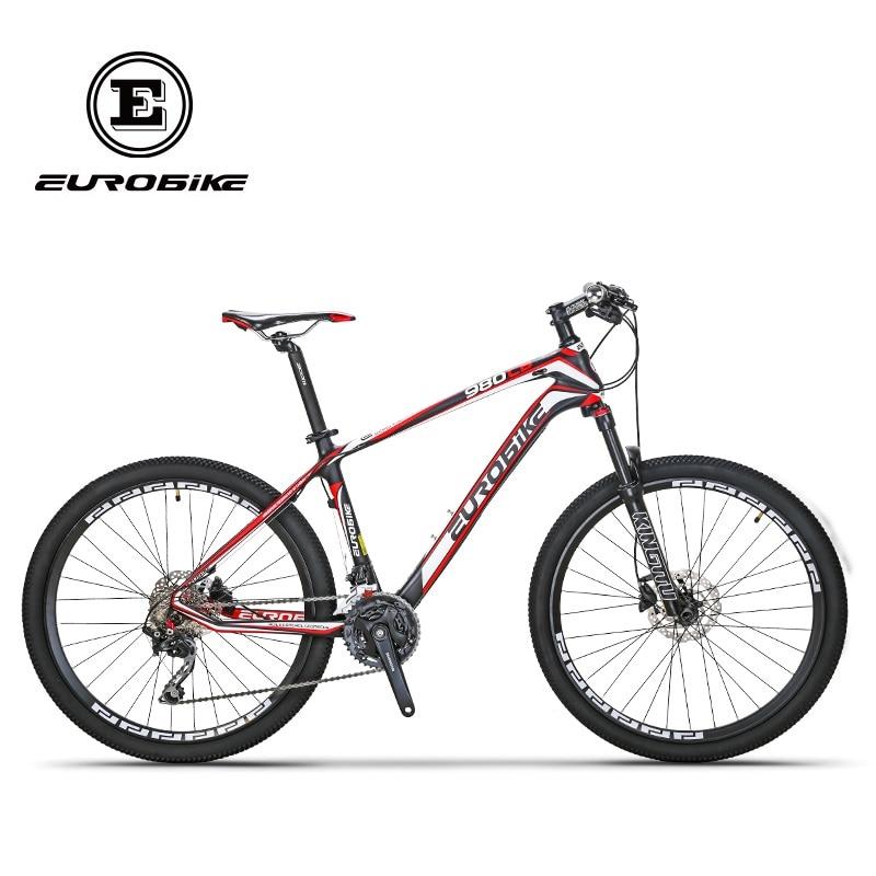 EUROBIKE, 26 pulgadas, fibra de carbono, bicicletas de montaña, doble freno de disco hidráulico, horquilla de choque