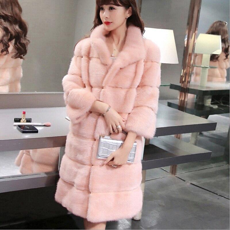 Femmes réel vison manteau de fourrure hiver nouvelle mode naturel vison manteau de fourrure longue mince véritable vison manteau de fourrure épais 92837
