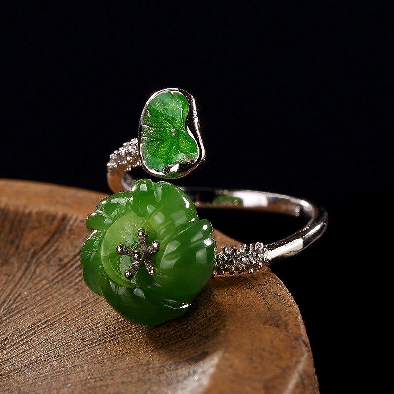 Anillo de plata con diseño Original de hojas verdes y flores, 925 anillos para mujer, piedra Natural, Jade Vintage, bisutería fina