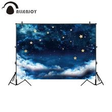Allenjoy التصوير خلفية ليلة مليء بالنجوم السماء الذهب نجوم سحابة خلفية photobooth المطبوعة صورة المتصل الديكور راية
