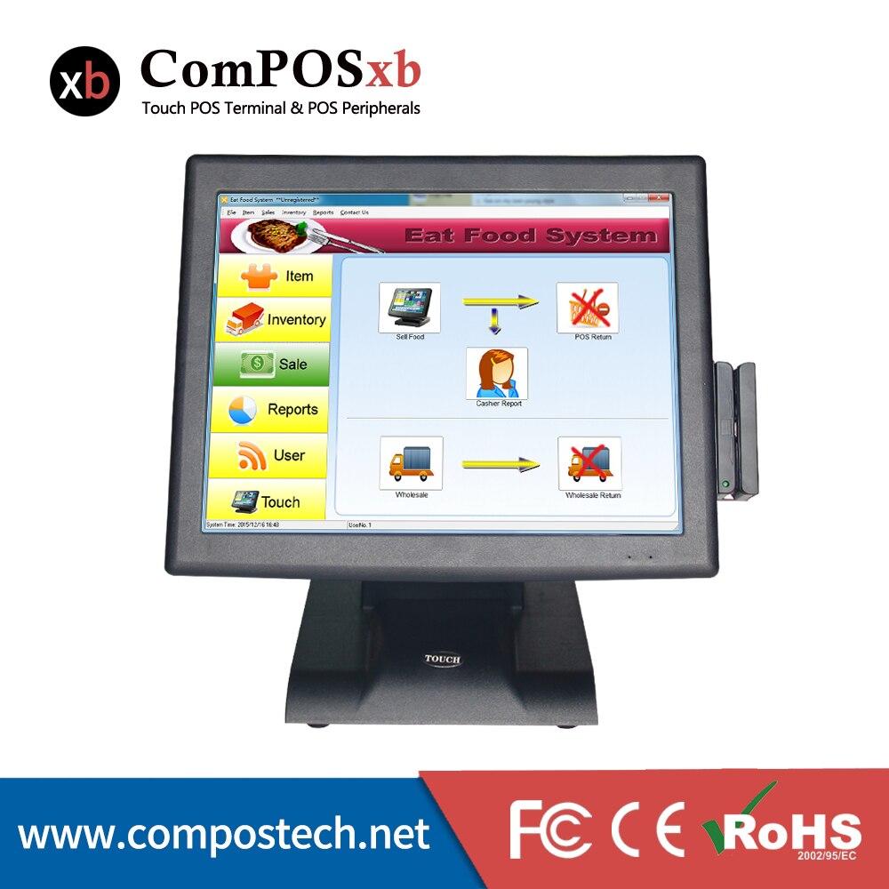 Commerciale supermercato casher registro 15 pollici all in one touch pos computer con VFD ospite display MSR lettore di schede