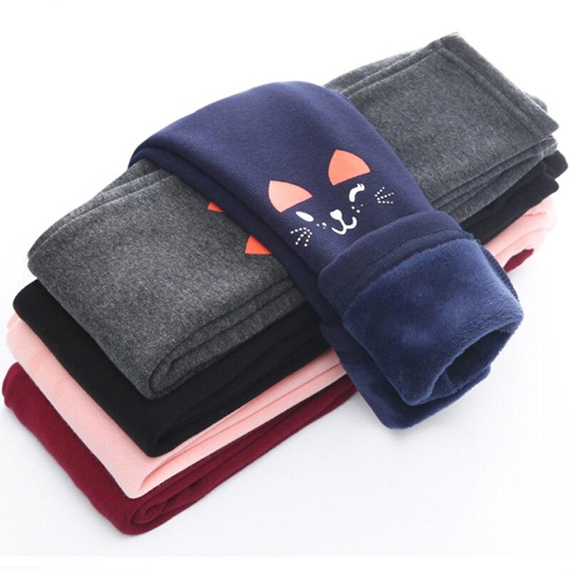 Mallas de invierno para niñas, pantalones largos gruesos y cálidos, pantalones pitillo de gato Carton, ropa para niños de 2 a 12 años, pantalones para niñas