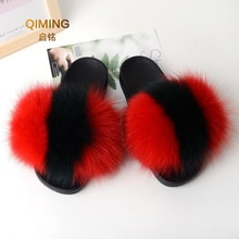 Women Real Fox Fur Slippers Feather Vegan Leather Flip Flops Open Toe Single Strap Slip On Sandal Shoes Woman Home Fluffy Slides