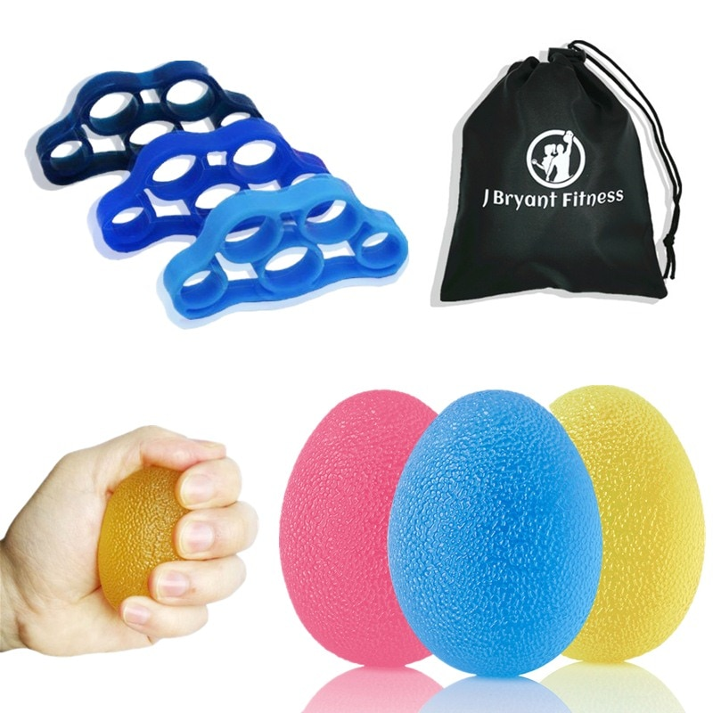 Stress Hand Grip Ball Finger Strength Training 3 Stress Relief Therapy Egg Balls and 3 Finger Stretcher Sets for Rehabilitation high grade finger grip ball rehabilitation training equipment middle aged and young people partial stroke exercise finger grip