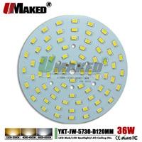 UMAKED 36W 120mm LED PCB SMD5730 ChipLED Source Aluminum Lamp plate Warm/Natural/White DIY Ceiling Lamp Bulb Bay light Spotlight