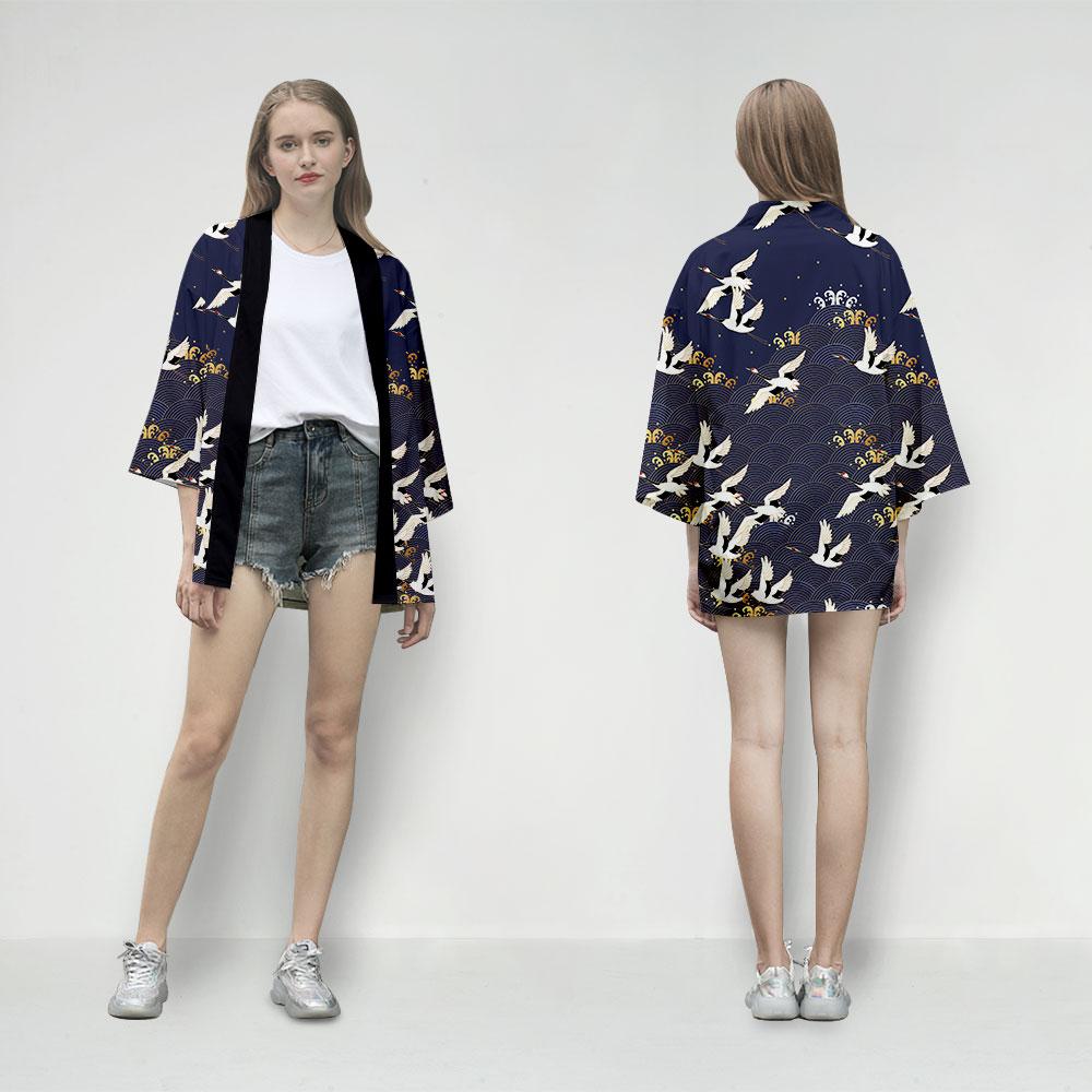 Summer 2019 Women Blouse And Tops Women Long Sleeve Cardigan Kimono Cardigan Traditional Japanese Kimonos Vintage Aesthetic