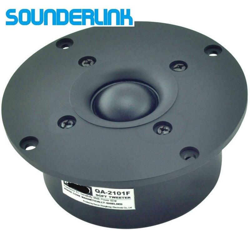 2PCS LOT Sounderlink Kasun QA-2101FHiFi silk soft magnetic shield superb Dome speaker tweeter unit 4 inch 103MM  8Ohm