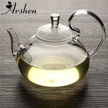 Arshen-théière chinoise en verre   Théière élégante en verre, fleur café théière en verre résistante à la chaleur, théière en verre, théière Gongfu avec filtre à thé
