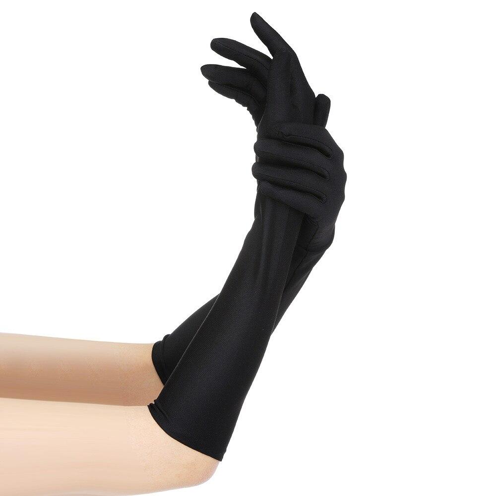 Сексуальные атласные перчатки женские черные/белые