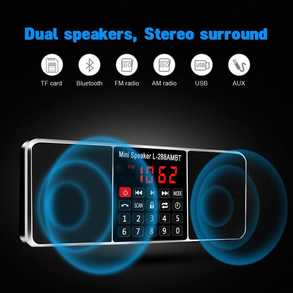 Lefon Digital Portable Radio AM FM Bluetooth Speaker Stereo MP3 Player TF/SD Card USB Drive Handsfree Call LED Display Speakers