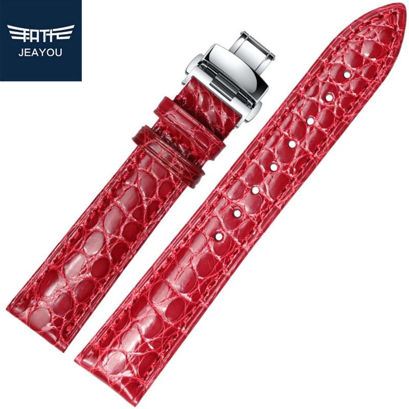 Relógio de Pulseira para as Mulheres de Boa Qualidade para Tissot Jeayou Jacaré Real Mido Casio Branco Vermelho Rosa Azul 20mm –