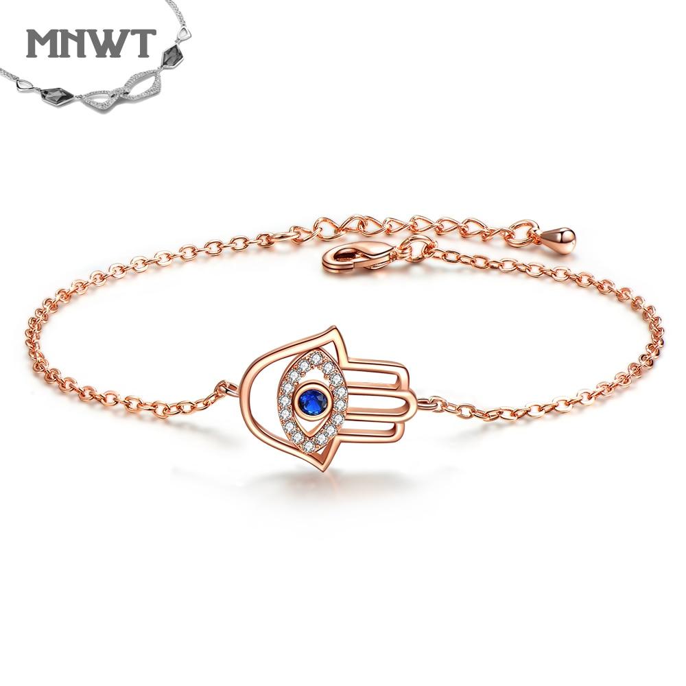 Pulseras y brazaletes MNWT de Zirconia cúbica a la moda para mujer, joyería de oro rosa de la mejor marca, pulsera ajustable de regalo femenino
