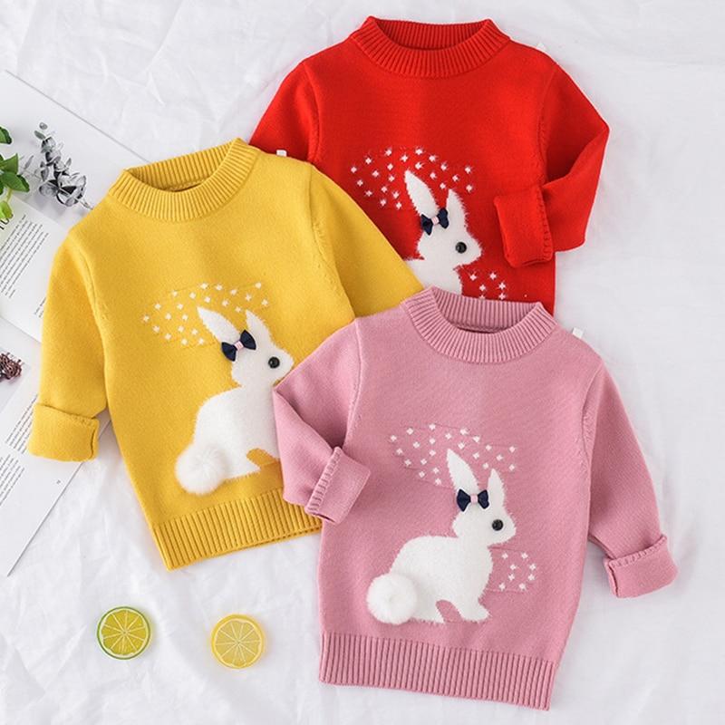 Jersey de invierno Otoño-Invierno 2019 para niño niña, suéter cálido de manga larga para niñas, ropa para niños, jersey para niñas, top de 2 4 años de conejo