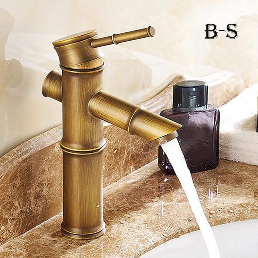 European antique Bathroom Faucet Brass Basin Faucets Tap Tall Bamboo Hot Cold Water Kitchen Outdoor Garden Taps