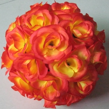 SPR 15pcs/ctn Wedding decoration celebration decoration silk rose flower balls optional wedding ball-wine red-20cm-plastic inner