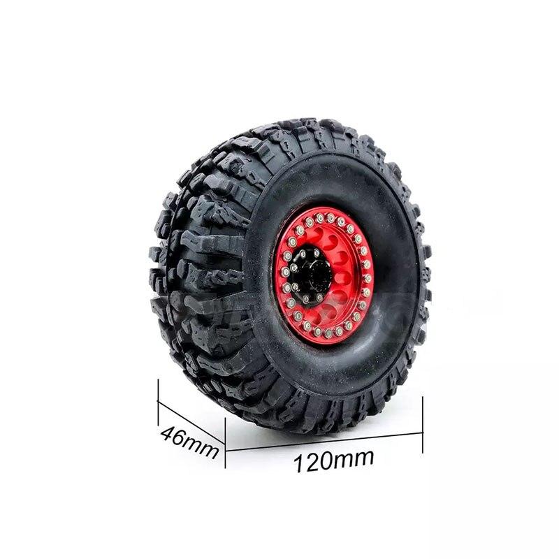 4PCS Metal Red Beadlock 1.9'' Wheel Rim & 120mm Tires for 1/10 RC Rock Crawler Axial SCX10 JEEP 90046 90047 D90 D110 K54 enlarge