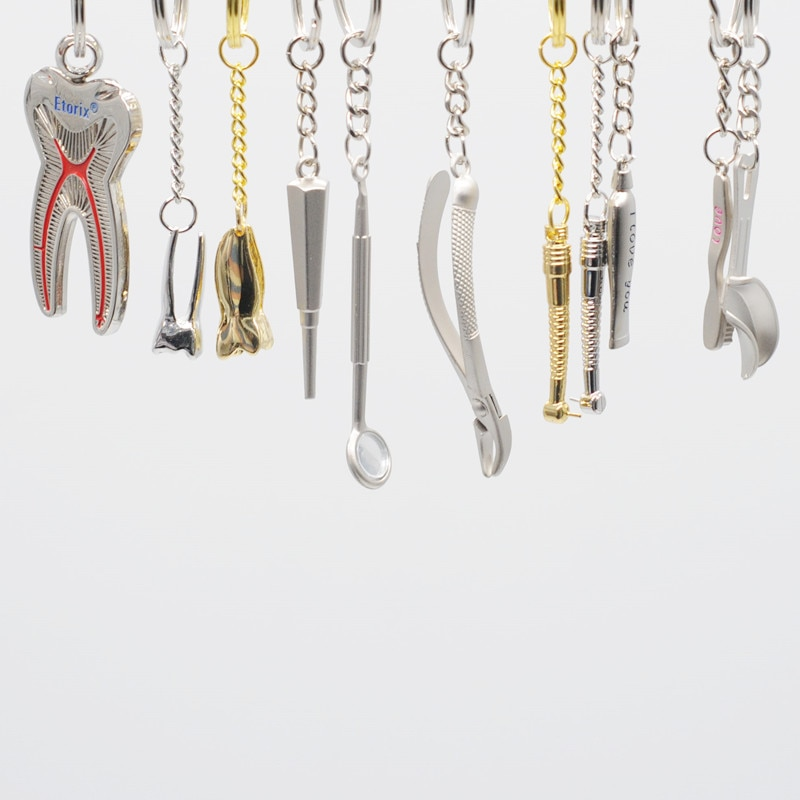 Подарочная стоматологическая клиника из нержавеющей стали, брелок для ключей, 2 шт. для стоматологических