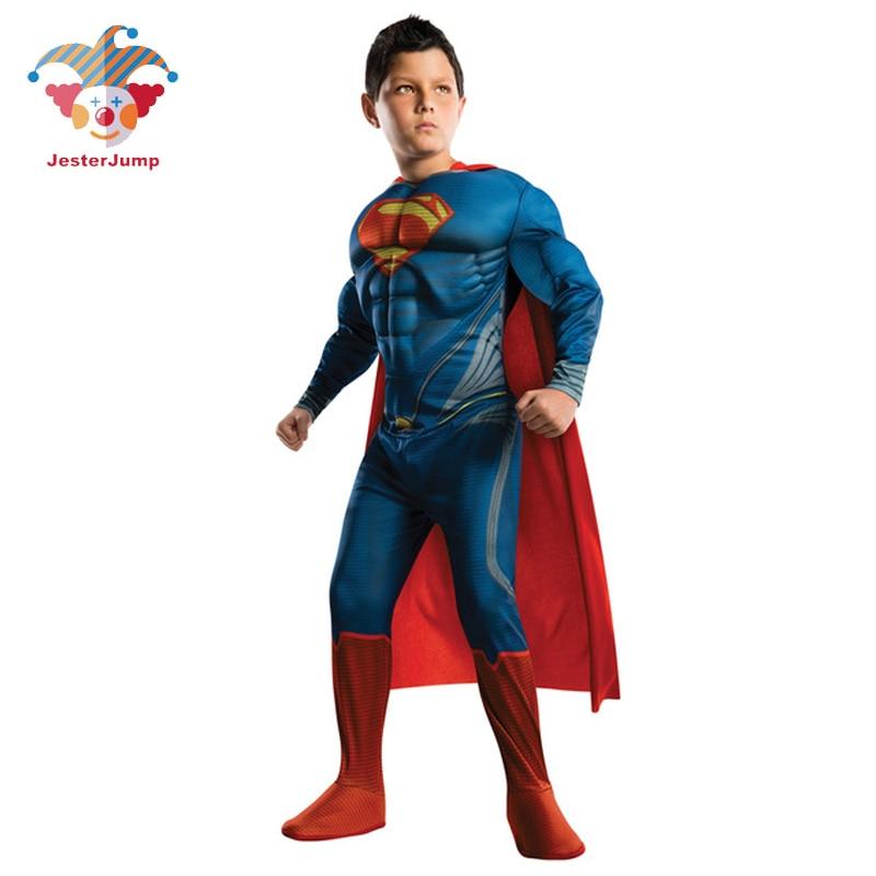 Enfants Cospaly Deluxe Muscle Superman Costume Halloween fête Muscle noël Superman pour garçons filles corps complet Superman Costume
